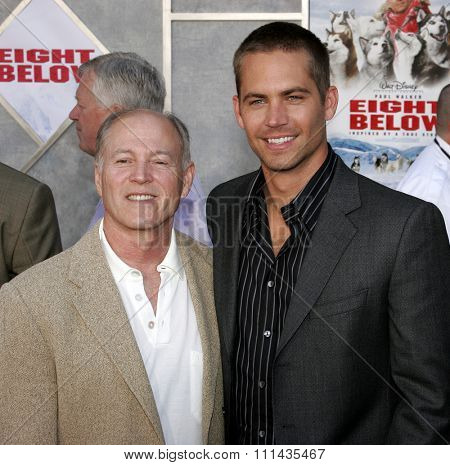 HOLLYWOOD, CALIFORNIA. February 12, 2006. Frank Marshall (L) and Paul Walker attend the World Premiere of