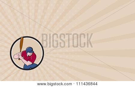 Business Card Baseball Player Batting Circle Cartoon