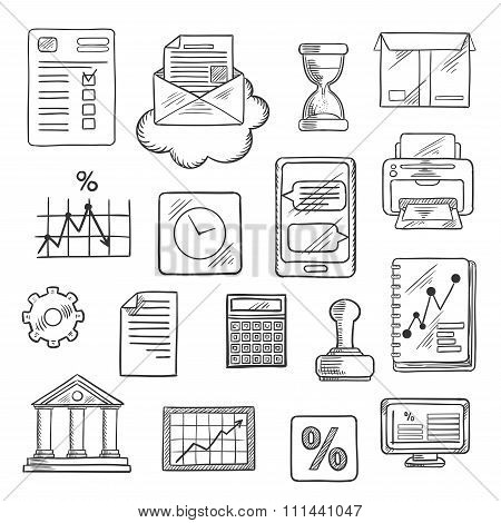 Business, financial and office sketched icons