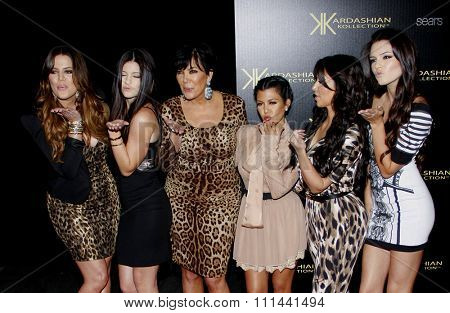 Khloe, Kim and Kourtney Kardashian, and Kris, Kendall and Kylie Jenner at the Kardashian Kollection Launch Party held at the Colony in Los Angeles, California, United States on August 17, 2011.