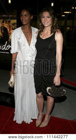HOLLYWOOD, CALIFORNIA. February 6, 2006. Jessica Biel and Joy Bryant attend the Los Premiere of