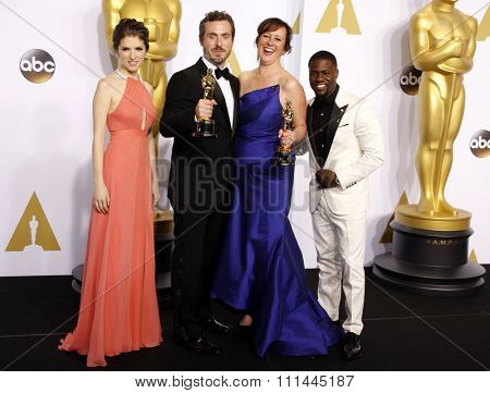 Anna Kendrick, Patrick Osborne, Kristina Reed and Kevin Hart at the 87th Annual Academy Awards Press Room held at the Loews Hollywood Hotel in Hollywood on February 22, 2015.