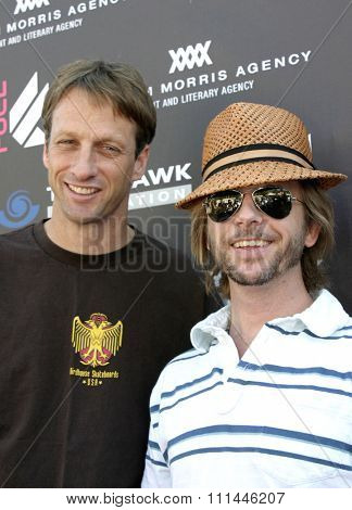 Tony Hawk and David Spade at the Standup For Skateparks benefit held at Pinz Bowling Alley in Studio City, California on October 3, 2004.