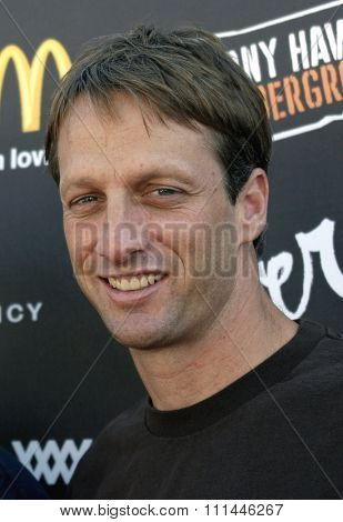 Tony Hawk at the Standup For Skateparks benefit held at Pinz Bowling Alley in Studio City, California on October 3, 2004.