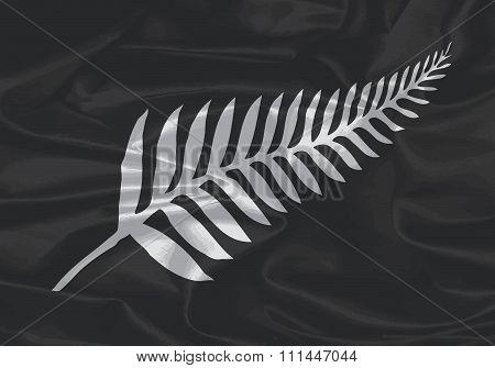 Silk Flag Of New Zealand Silver Fern