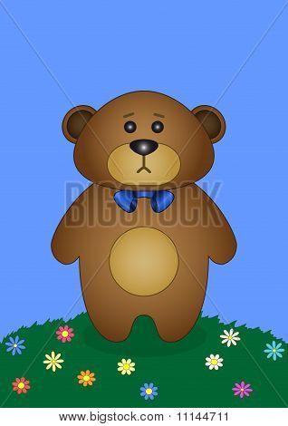 Teddy bear on a flower meadow