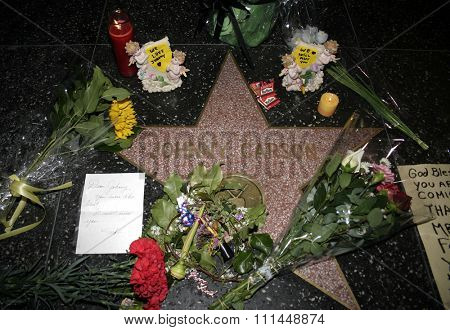 01/23/2005 - Hollywood - Johnny Carson's star on the Hollywood Walk of Fame in Hollywood. Carson died January 23, 2005, at age 79 of emphysema at his home in Malibu, California.