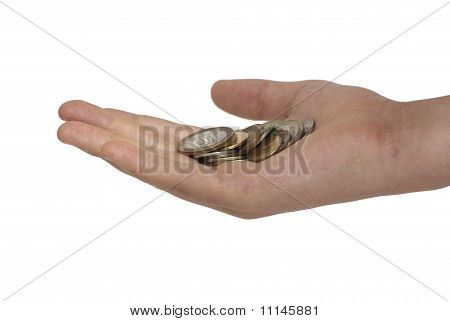 Palm With A Handful Of Coins