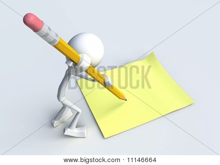 3D Character Writing A Note