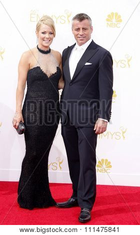 Andrea Anders and Matt LeBlanc at the 66th Annual Primetime Emmy Awards held at the Nokia Theatre L.A. Live in Los Angeles on August 25, 2014 in Los Angeles, California.