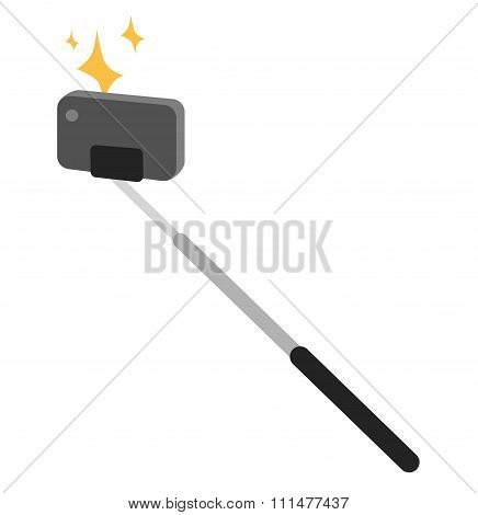 Selfie stick vector icon illustration