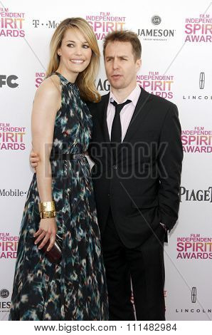 Sam Rockwell and Leslie Bibb at the 2013 Film Independent Spirit Awards held at the Santa Monica Beach in Los Angeles, United States, 230213.