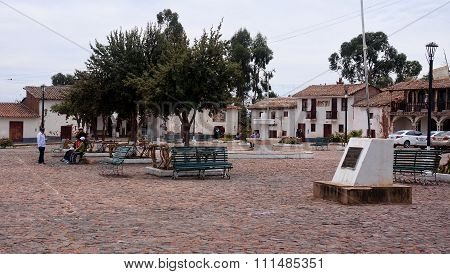 Quinua, Peru - November 5, 2015: The Main Square In The Town In