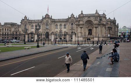 Lima, Peru - December 2, 2015: Government Palace On 2 December 2