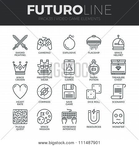 Video Game Elements Futuro Line Icons Set