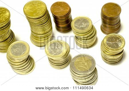 Towers Of Coins Of Euro Isolated From The Top
