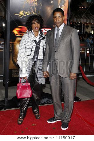 Pauletta Pearson and Denzel Washington at the Los Angeles premiere of 'Unstoppable' held at the Regency Village Theatre in Westwood on October 26, 2010.