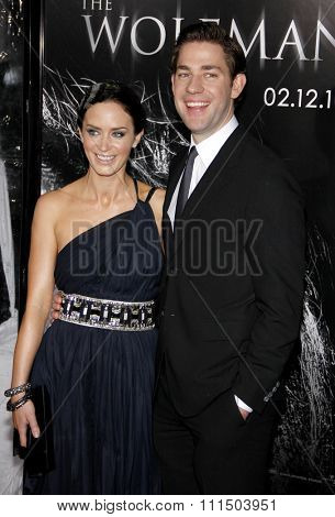 Emily Blunt and John Krasinski at the Los Angeles premiere of 'The Wolfman' held at the ArcLight Cinemas in Hollywood on February 28, 2010.