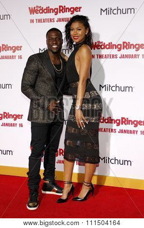 Kevin Hart and Eniko Parrish at the Los Angeles premiere of 'The Wedding Ringer' held at the TCL Chinese Theater in Hollywood on January 6, 2015.