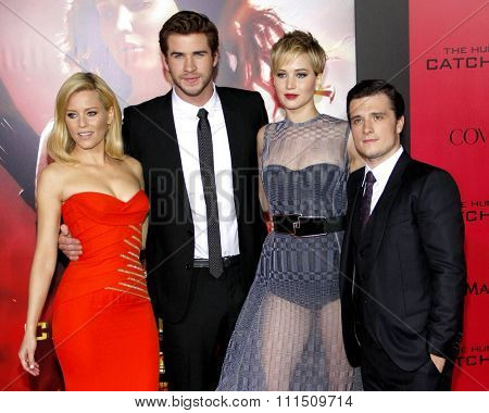 Liam Hemsworth, Elizabeth Banks, Jennifer Lawrence and Josh Hutcherson at the Los Angeles premiere of