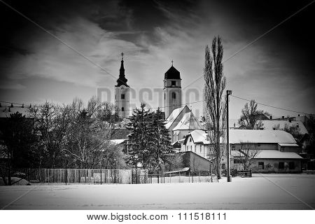 Krizevci Winter Black And White View