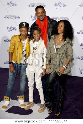 Jaden Smith, Willow Smith, Will Smith and Jada Pinkett Smith at the Los Angeles premiere of 'Justin Bieber: Never Say Never' held at the Nokia Theatre L.A. Live in Los Angeles on February 8, 2011.