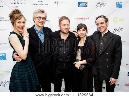 Juliano Ribeiro Salgado, Ivi Roberg, Laurent Petitgand, Wim Wenders, Donata Wenders and Juliano Salgado at the Oscar nominees reception held at Villa Aurora in Pacific Palisades on February 21, 2015.