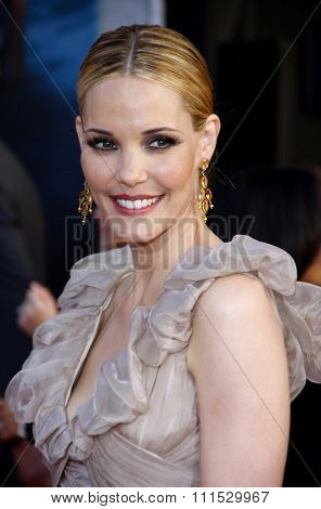 Leslie Bibb at the Los Angeles premiere of 'Iron Man 2' held at the El Capitan Theatre in Hollywood on April 26, 2010.