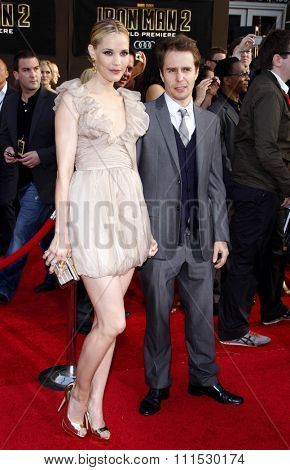 Leslie Bibb and Sam Rockwell at the Los Angeles premiere of 'Iron Man 2' held at the El Capitan Theatre in Hollywood on April 26, 2010.