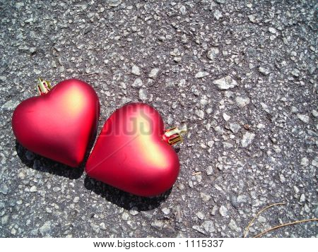 Closeup Of Two Loving Hearts