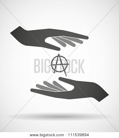 Two Hands Protecting Or Giving An Anarchy Sign