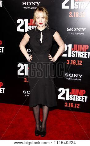 Dakota Johnson at the Los Angeles premiere of '21 Jump Street' held at the Grauman's Chinese Theater in Hollywood on March 13, 2012.