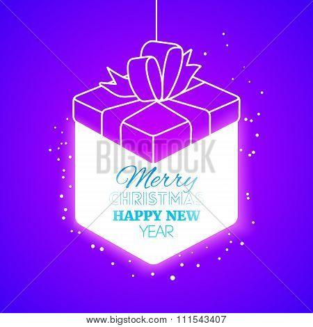Lighting Christmas Gift Box At Purple Backdrop