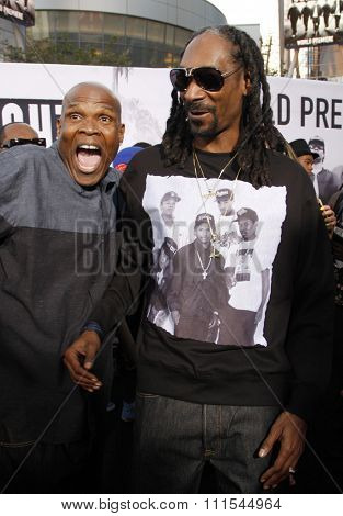 Snoop Dogg and Big Boi at the Los Angeles premiere of 'Straight Outta Compton' held at the Microsoft Theatre in Los Angeles, USA on August 10, 2015.