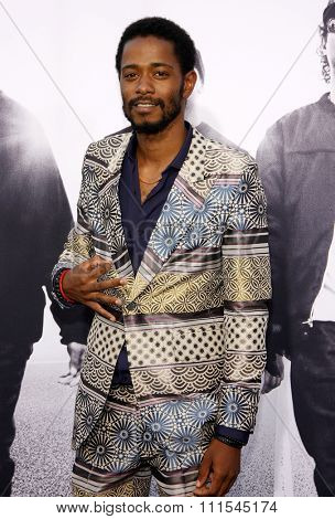 Lakeith Lee Stanfield at the Los Angeles premiere of 'Straight Outta Compton' held at the Microsoft Theatre in Los Angeles, USA on August 10, 2015.