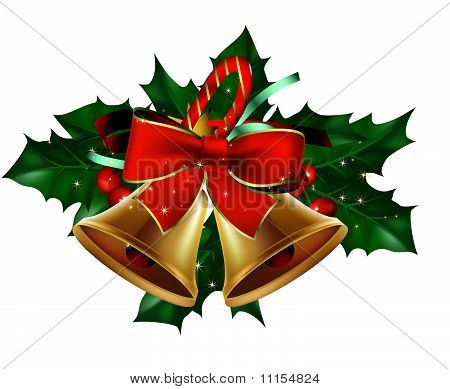 Christmas bells card with hollyberry