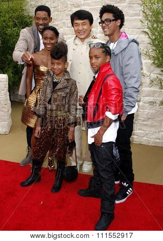Jada Pinkett Smith, Will Smith, Jaden Smith, Jackie Chan, Trey Smith and Willow Smith at the Los Angeles premiere of 'The Karate Kid' held at the Mann Village Theater in Westwood, USA on June 7, 2010.