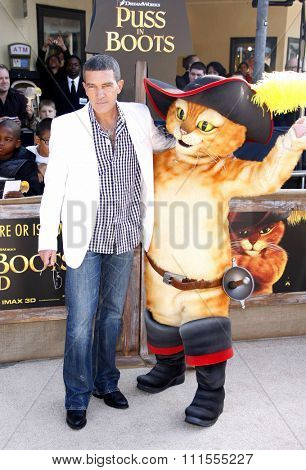 Antonio Banderas at the Los Angeles premiere of 'Puss In Boots' held at the Regency Village Theater in Westwood, USA on October 23, 2011.
