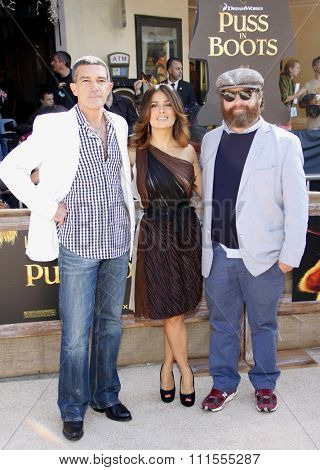 Antonio Banderas, Salma Hayek and Zach Galifianakis at the Los Angeles premiere of 'Puss In Boots' held at the Regency Village Theater in Westwood, USA on October 23, 2011.
