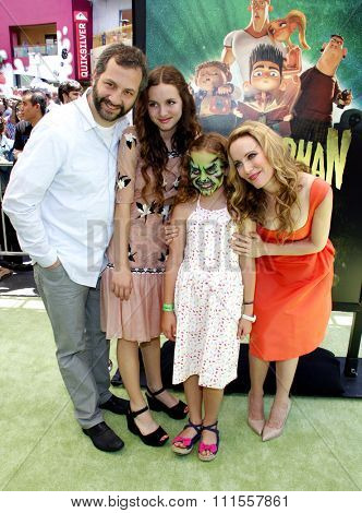 Iris Apatow, Judd Apatow, Leslie Mann and Maude Apatow at the Los Angeles premiere of 'ParaNorman' held at the Universal CityWalk in Universal City, USA on August 5, 2012.