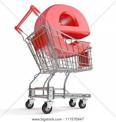 Shopping cart and E symbol. E-shop concept. 3D