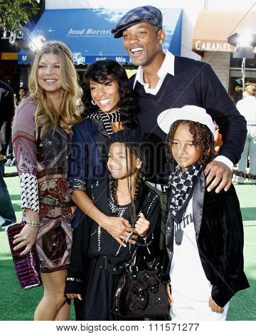 Fergie, Jada Pinkett Smith, Will Smith, Willow Smith and Jaden Smith at the Los Angeles premiere of 'Madagascar: Escape 2 Africa' held at the Mann Village Theater in Westwood, USA on October 26, 2008.