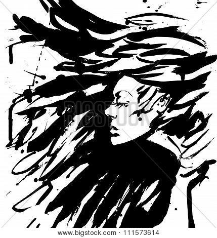 vector Dark Queen. Fantasy black hair. Drawn ink