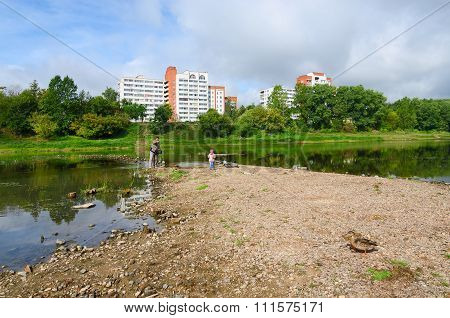 Ecology. Shallowing Of Western Dvina River Bed Due To Dry Summer, Vitebsk