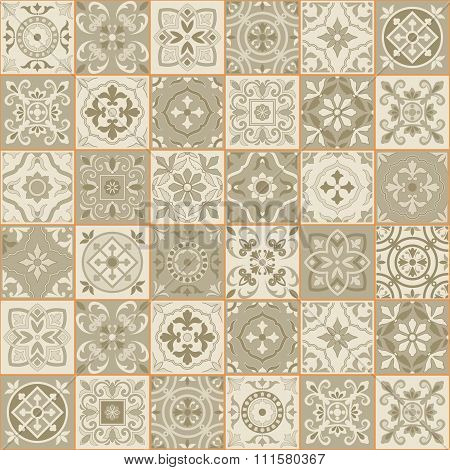 Gorgeous seamless  pattern  white Sepia color Moroccan, Portuguese  tiles, Azulejo, ornaments. Can be used for wallpaper, pattern fills, web page background, surface textures. poster
