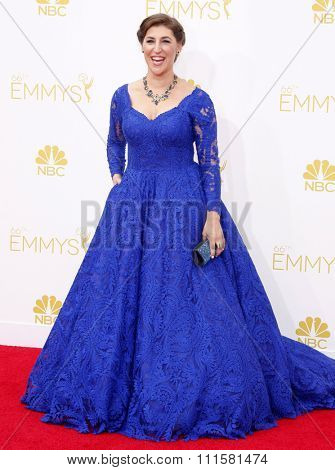 LOS ANGELES, CA - AUGUST 25, 2014: Mayim Bialik at the 66th Annual Primetime Emmy Awards held at the Nokia Theatre L.A. Live in Los Angeles, USA on August 25, 2014.