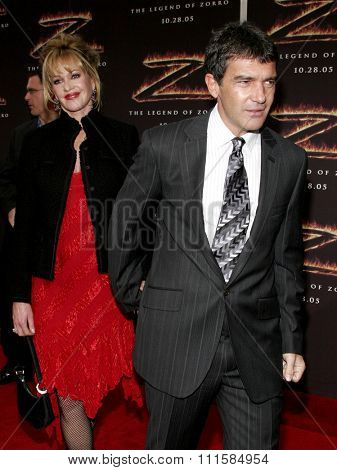 LOS ANGELES, CA - OCTOBER 16, 2005: Antonio Banderas and Melanie Griffith at the Los Angeles premiere of 'The Legend of Zorro' held at the Orpheum Theater in Los Angeles, USA on October 16, 2005.