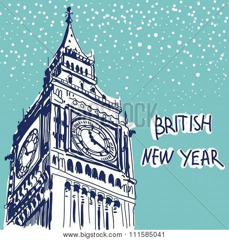 Vector Illustration. World Famous Landmarck Series: Big Ben, Lon