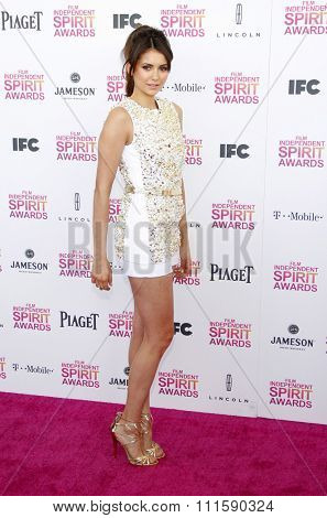 Nina Dobrev at the 2013 Film Independent Spirit Awards held at the Santa Monica Beach in Los Angeles, United States on February 23, 2013.