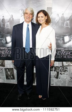 Lynn Louisa Woodruff and Sam Waterston at the HBO's Season 2 Premiere Of